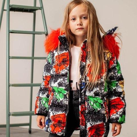 Детская зимняя куртка с авторским принтом