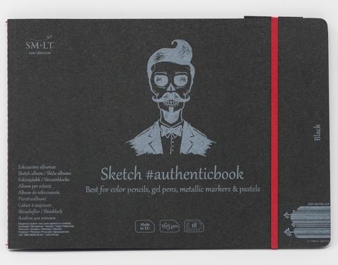 Альбом Authentic Black 165г/м2 24.5*18.5см 18листов с закладкой-застежкой книжный переплет (сшитый)