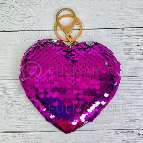 Брелок Сердце с пайетками Фиолетовый-Серебристый