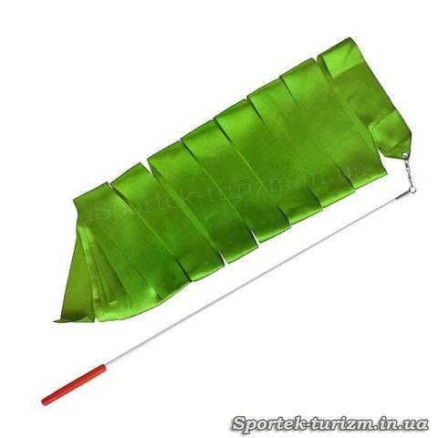 Зелена стрічка для художньої гімнастики (3 м, паличка 60 см)