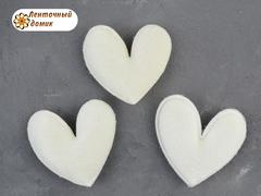 Сердечки велюровые молочные