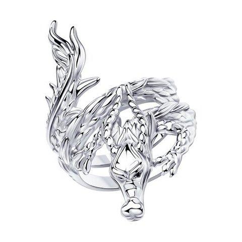 94013173 - Кольцо Дракон из серебра с фианитами