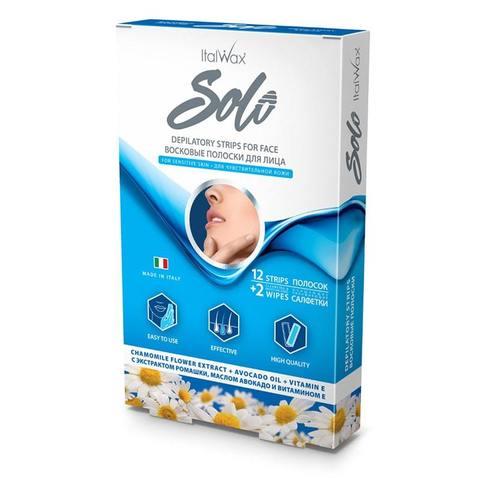 Восковые полоски для лица Solo с экстрактом ромашки, маслом авокадо и витамином Е 12 шт. ITALWAX