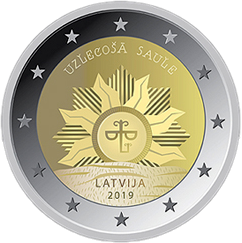 2 евро. Восход солнца. Латвия. 2019 год