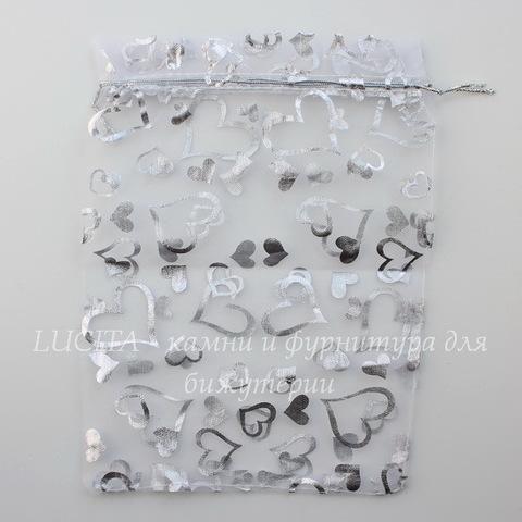 """Подарочный мешочек из органзы """"Сердечки"""" белый с серебром, 23х17 см"""