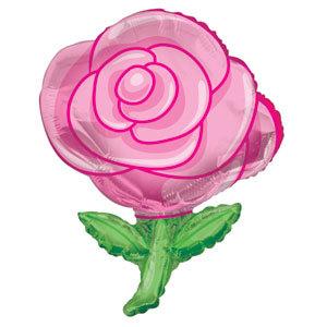 Фольгированный шар Роза розовая 36