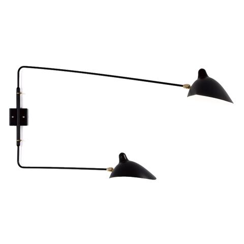 Настенный светильник AP2BD Two Arms by Serge Mouille (черный)