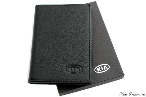 Портмоне для автодокументов из натуральной кожи с логотипом KIA