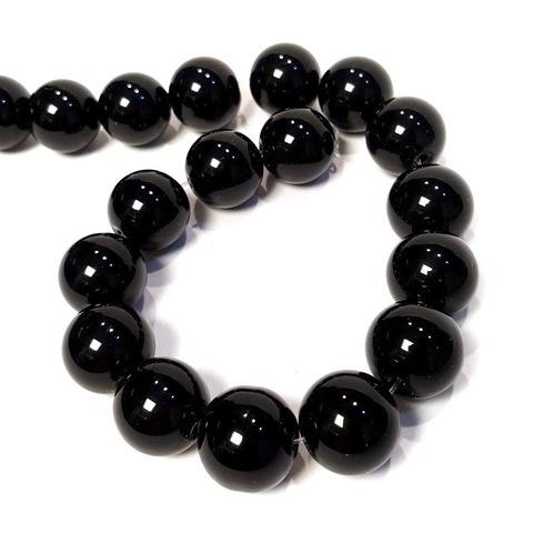Бусины агат черный шар гладкий 14 мм 1 бусина