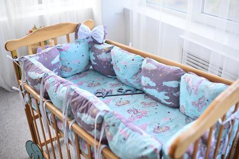 Защита в кроватку от комплекта Облачко 12 шт 03-05-01 Унисекс фиолетовый