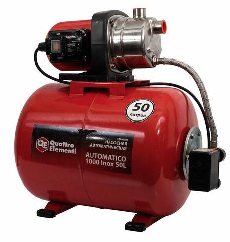 Насосная станция QUATTRO ELEMENTI Automatico 1000 Inox 50L (1000 Вт, 3600 л/ч, для чистой, 45 м, 16 кг)  ресивер 50 литров (771-732)