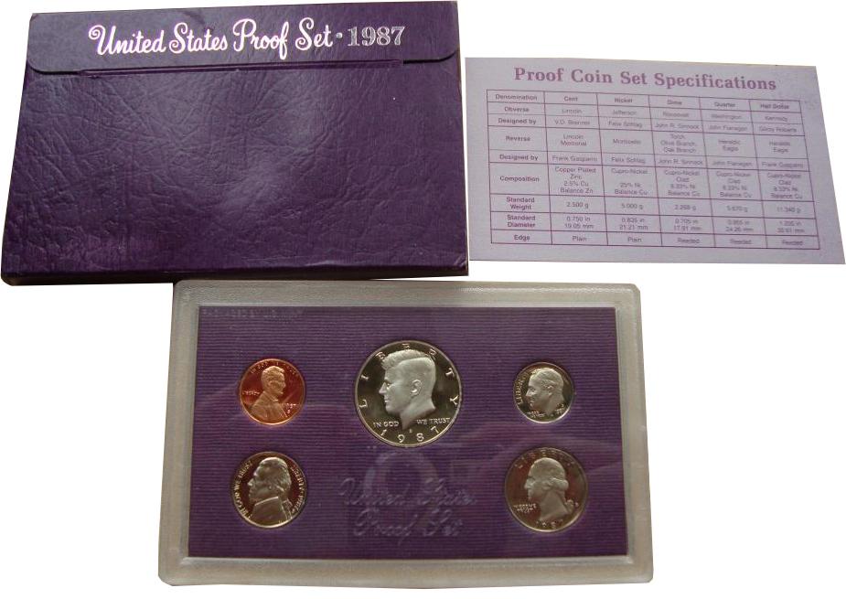 Годовой набор монет США 1987 г. (Двор S)