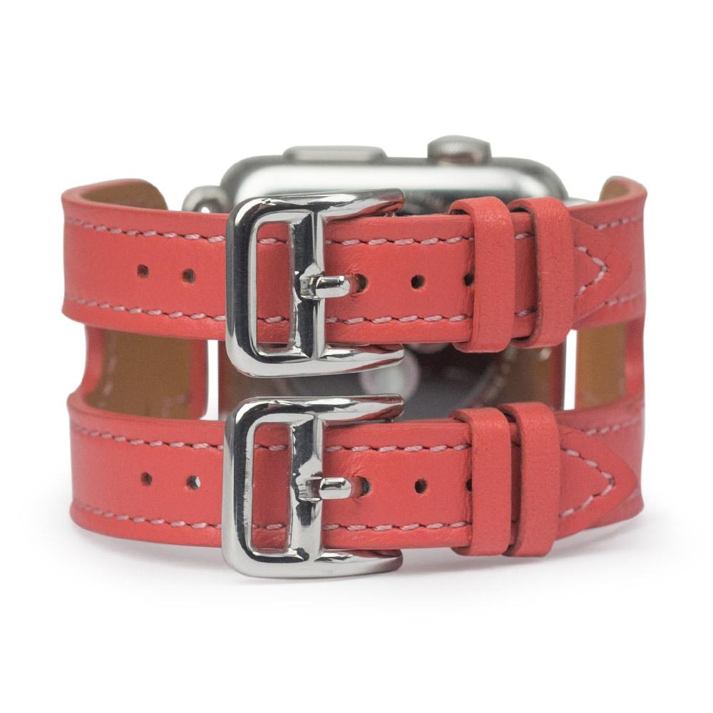 Ремешок для Apple Watch 38мм ST Double Buckle из натуральной кожи теленка, кораллового цвета