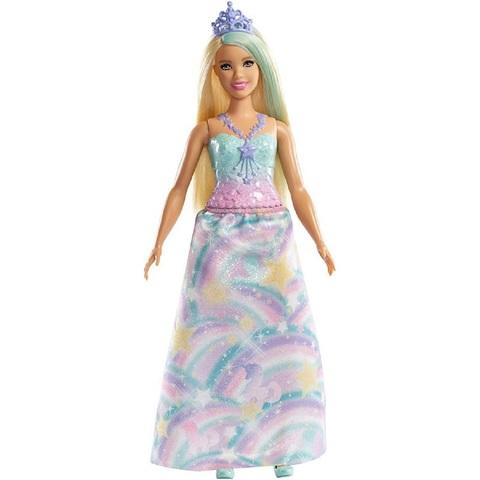 Барби Дримтопия Принцесса Блондинка с Голубой Прядкой и Тиарой