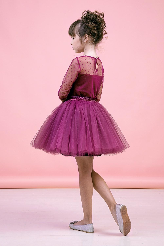 Комплект (блузка, юбка) ягодный для девочки 64-9005-4