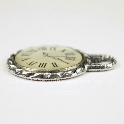 "Подвеска ""Часики"" (цвет - античное серебро) 27х21 мм"