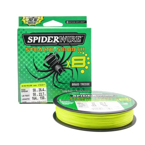 Плетеная леска Spiderwire Stealth Smooth 8 Braid Ярко-желтая 150м 0,29мм 26,4кг