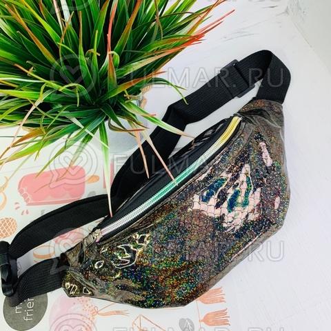 Блестящая поясная сумка летняя для девочки гладкая Русалочка Коричневая