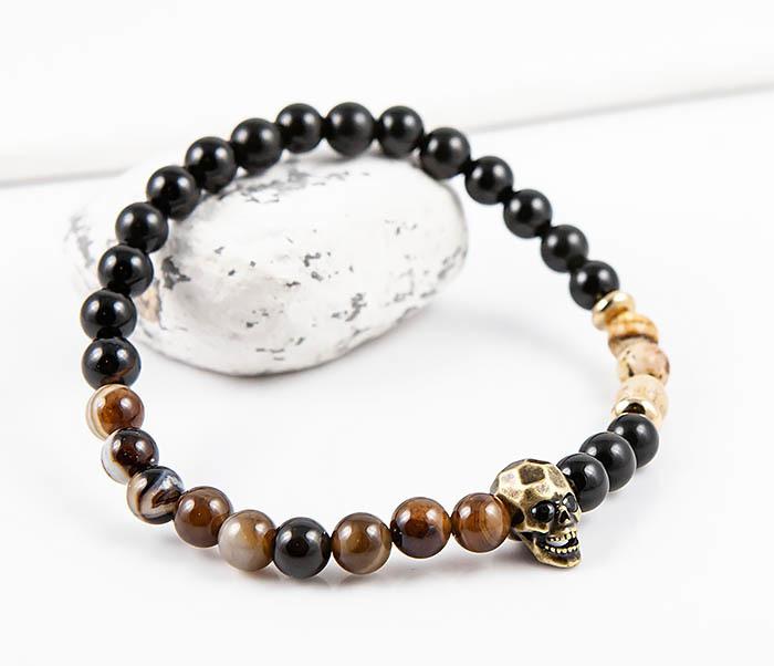 BS870 Браслет из камня с черепом (агат, обсидиан, яшма)