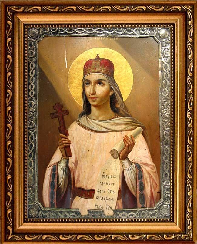 Параскева Пятница Святая мученица. Икона под старину на холсте 10х15 см и 15х20 см