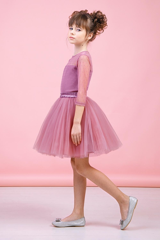 Комплект (блузка, юбка) пудровый для девочки 64-9005-2