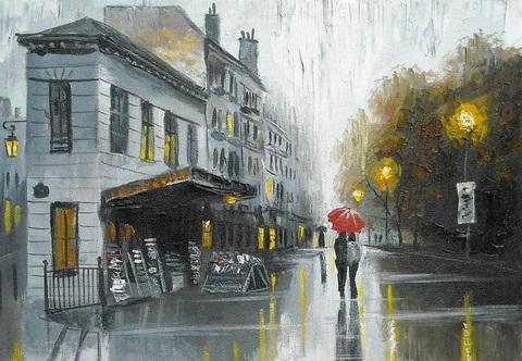Картина раскраска по номерам 40x50 Прогулка по осенней улочке