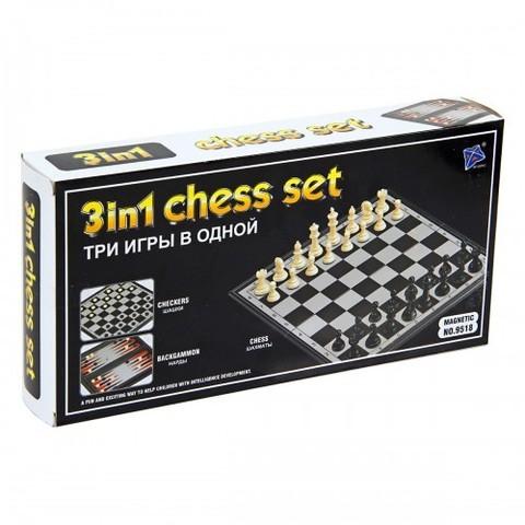 Игра 3в1 (шашки, шахматы и нарды) в коробке