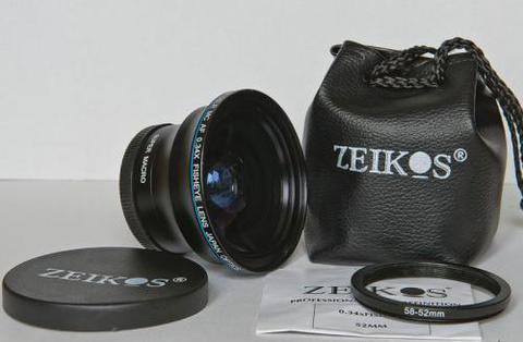 Фишай, fisheye насадка линза 58mm Zeikos ZE-58F и переходник 52-58mm 40x