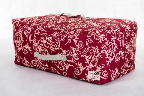 Мягкий большой кофр для объемных вещей, XL, 63*48*28 см (бордо с узорами)