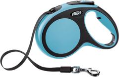 Поводок-рулетка Flexi New Comfort М (до 25 кг) лента 5 м черный/синий