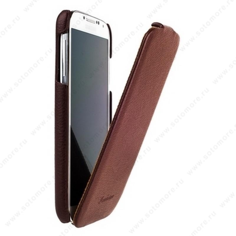 Чехол-флип Fashion для Samsung Galaxy S4 i9500/ i9505 с откидным верхом коричневый