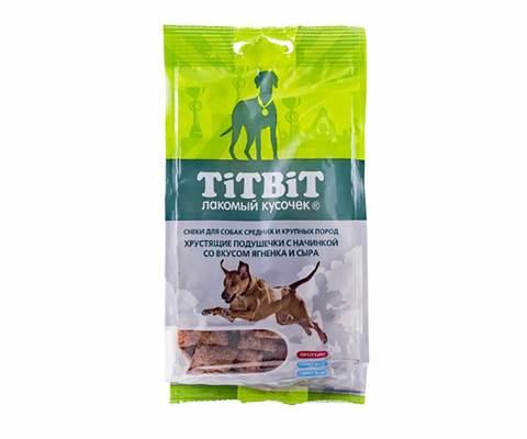 Titbit хрустящие подушечки с начинкой со вкусом ягненка и сыра для средних пород 95г