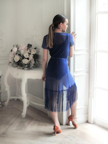 Платье-халат из сетки с бахромой