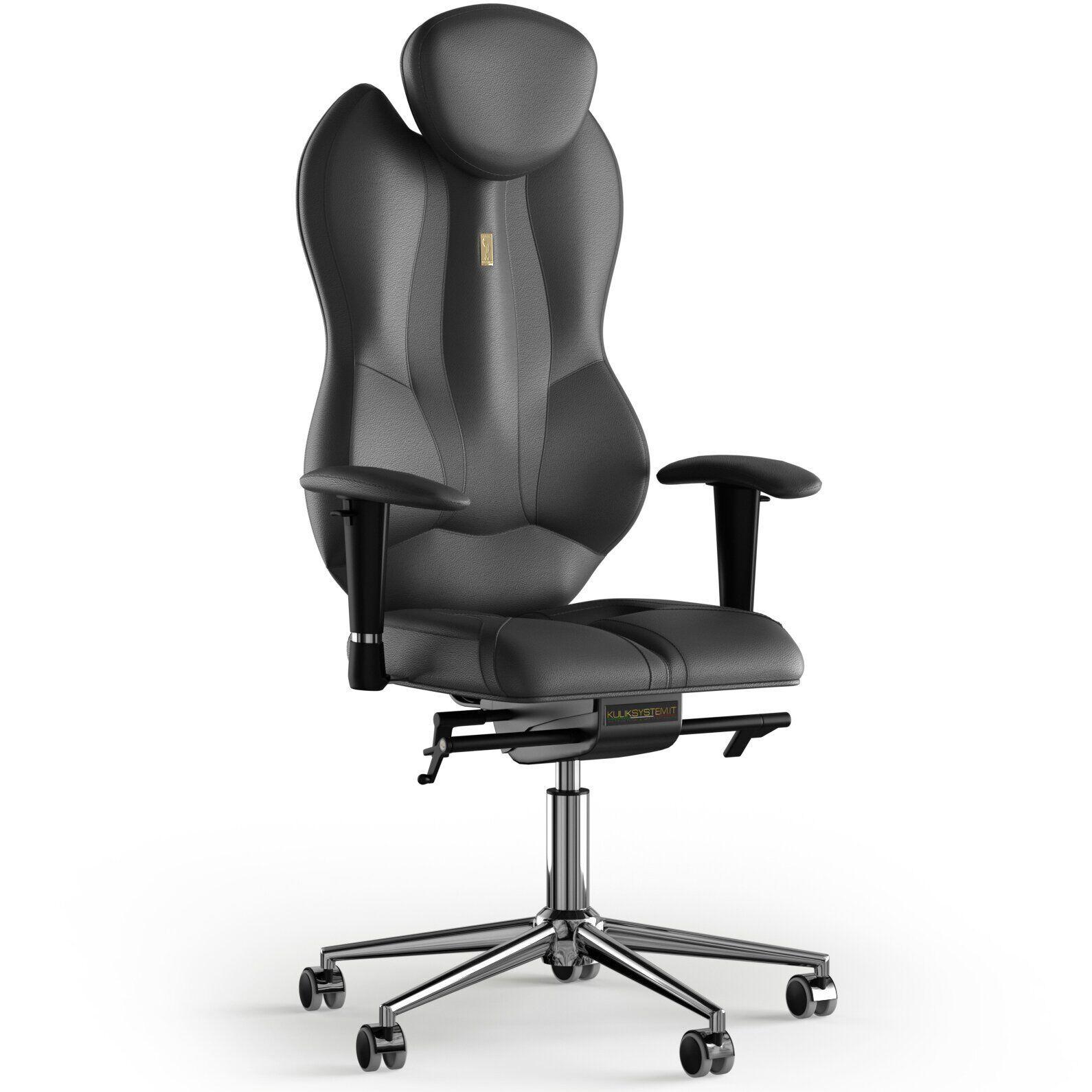 Кресло KULIK SYSTEM GRAND Кожа с подголовником без строчки