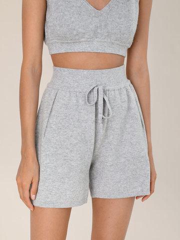 Женские шорты светло-серого цвета из шерсти и кашемира - фото 5