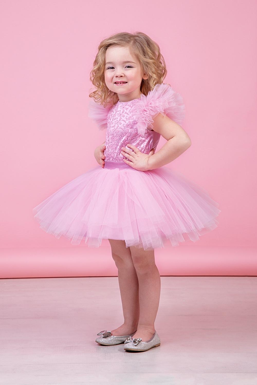 Комплект (блузка, юбка) светло-розовый для девочки 64-9008-4