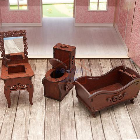 ЯиГрушка Ванная комната (унитаз, ванна, раковина с зеркалом)(коричневый) арт. 59426