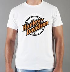 Футболка с принтом Harley-Davidson (Харли-Дэвидсон) белая 009