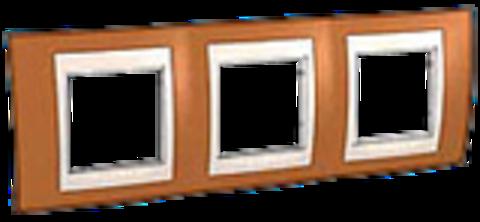 Рамка на 3 поста. Цвет Оранжевый/Бежевый. Schneider electric Unica Хамелеон. MGU6.006.569