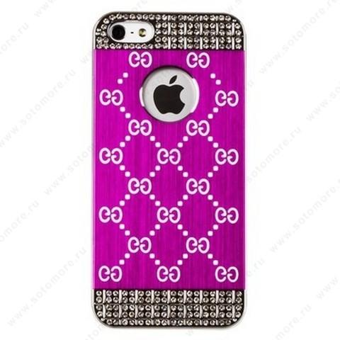 Накладка GUCCI металлическая для iPhone SE/ 5s/ 5C/ 5 серебро ярко-розовая