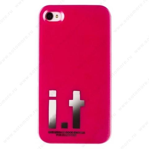 Накладка i.t с водонепроницаемым мешком для iPhone 4s/ 4 с большими буквами розовая