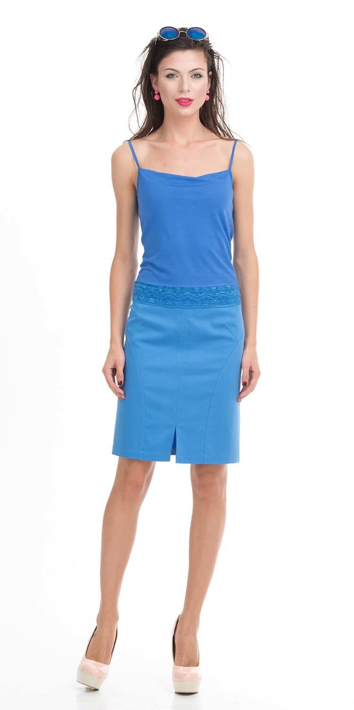 Юбка Б797-549 - Прямая хлопковая юбка. Спереди и сзади небольшие разрезы. Стильная и комфортная, она станет любимой моделью на лето.