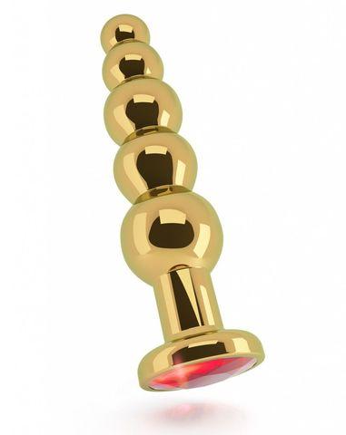 Золотистая анальная ёлочка с красным кристаллом - 14,5 см.
