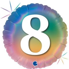 Г Шар (18''/46 см) Круг, 8 Цифра, Радужный, Голография, 1 шт.