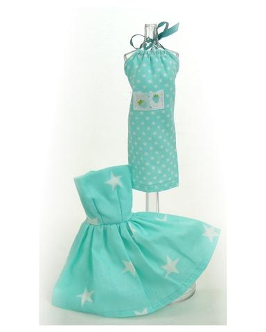 Два хлопковых платья - Бирюзовый. Одежда для кукол, пупсов и мягких игрушек.