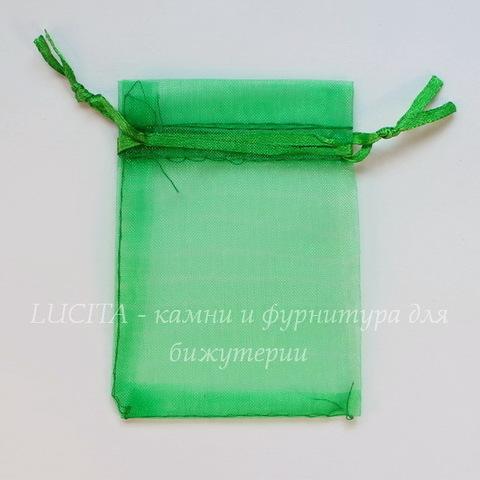 Подарочный мешочек из органзы зеленый, 9х7 см