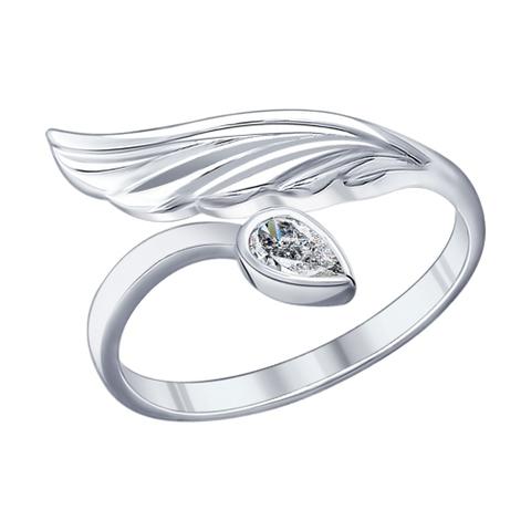 94011889- Кольцо из серебра с каплевидным фианитом и крылом