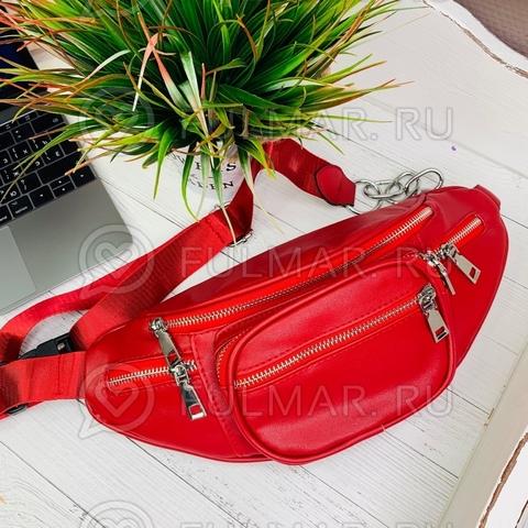Модная сумка на пояс женская Тёмно Красная