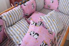 Защита в кроватку от комплекта Облачко 12 шт 03-05-01 Девочка Розовый с пандой