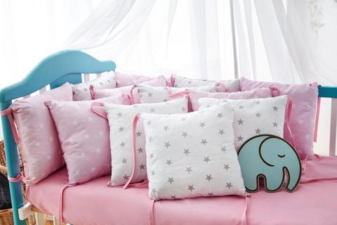 Защита со съемными наволочками в кроватку от комплекта Bravo 12 шт 3-03-1 Розово-белый